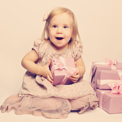 Happy baby and great gifts