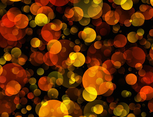 Warm Round Shapes in Chaotic Arrangement. Bokeh backgrounds