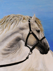 Oil painting on canvas - white horse in the furrow, art work