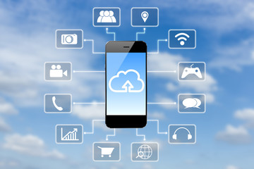 smart phone application technology and clouds blue sky backgroun