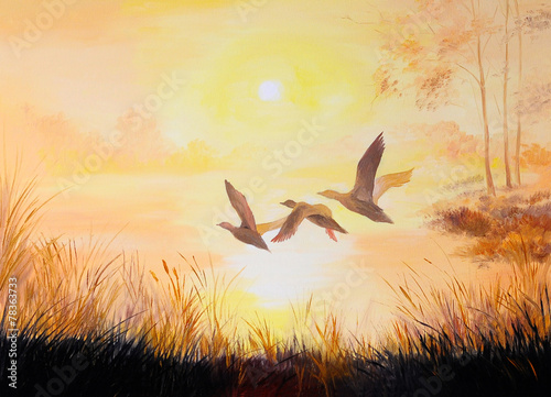 oil painting - Cranes at sunset, art work - 78363733