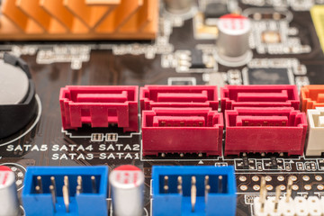 Serial ATA Connectors On Computer Motherboard