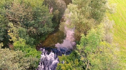 A river in summer, Austria, water green, trees. holidays family.
