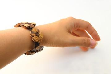 coconut shell bangle on wrist