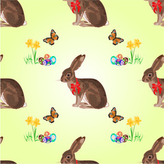 Seamless texture easter hare and daffodil vector