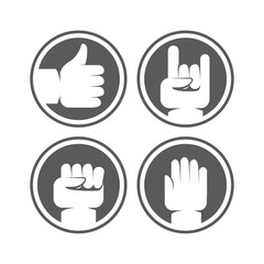 Vector hands and gestures signs in black and white colors