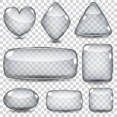 Set of transparent gray glass shapes