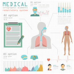 Medical and healthcare infographic, respiratory system infograph