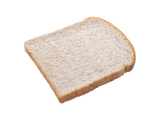 healthy whole wheat bread slice isolated on white