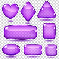 Set of transparent violet glass shapes