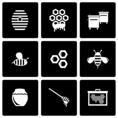 Vector black honey icon set