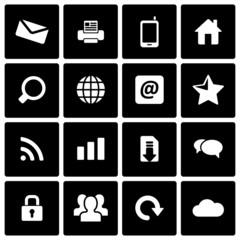 Vector black internet icon set