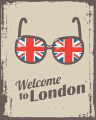 british poster with sunglasses