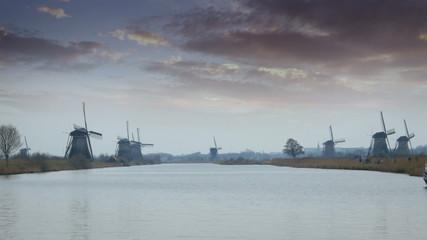 Dutch windmills and polder at Kinderdijk