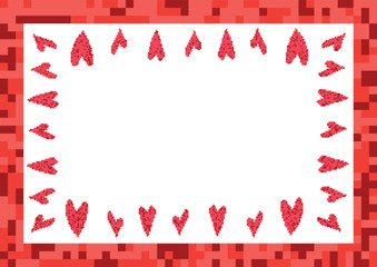 red frame with hearts pixel