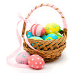 Colorful handmade easter eggs in the basket isolated - 78365103