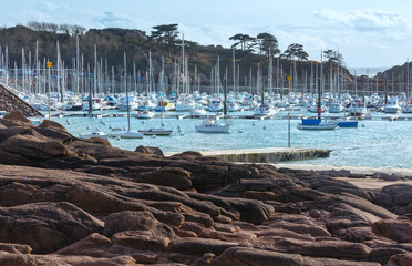 Bay with sailboats (Brittany, France).