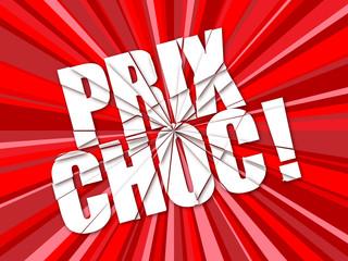 """Tampon """"PRIX CHOC"""" (soldes promotions déstockage offre spéciale)"""