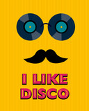 yellow disco poster with hipster - 78365768