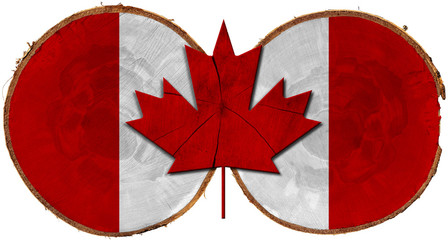 Canadian Flag on Section of Tree Trunks