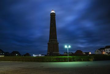 Leuchtturm Borkum bei Nacht