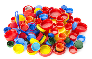 Heap of Plastic Bottle Caps