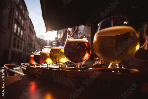 Foto op Canvas Bier / Cider Flight of six Beers for Tasting