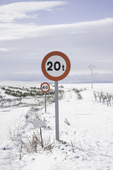 Road signs snow