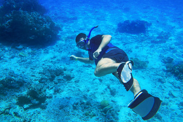 Man snorkeling in the Red Sea, Egypt
