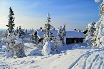 Cottages on snowy mountain