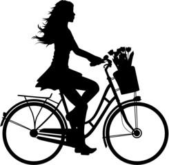 Fahrradfahrerin Vektor Silhouette