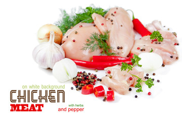 Slices of chicken meat on white background