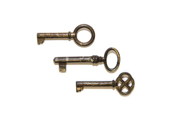Three very old key on white background