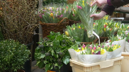 Woman is buying a bunch of tulips