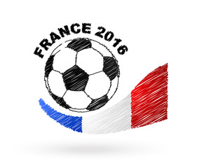 Football ball with France flag scribble effect