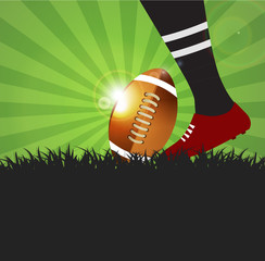 Football or rugby player with ball on grass  background