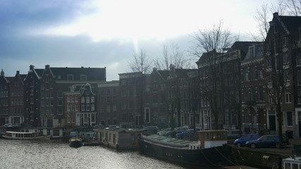 Canal with houseboats. Amsterdam, The Netherlands