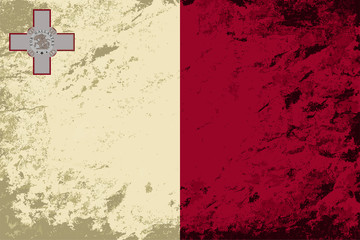 Maltese flag. Grunge background. Vector illustration
