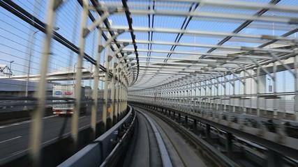 Monorail rides around town in Japan