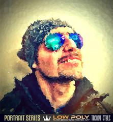 Low Poly trangular human man portrait with high quality