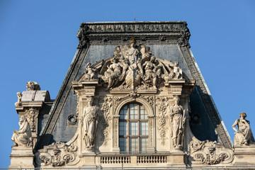 Paris -  Architectural fragments of Louvre building.