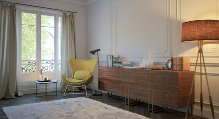 Sideboard mit Lese Ecke in altem Barock Zimmer