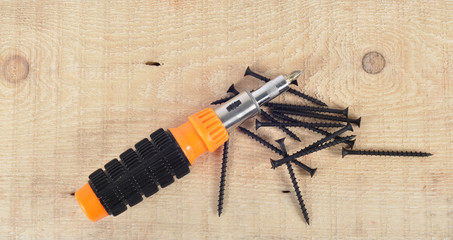 Screwdriver and screws for wood