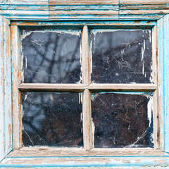 old shabby wooden window frame