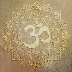 illustration: a golden symbol of OM