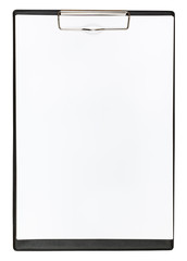 clipboard with empty sheet of paper isolated