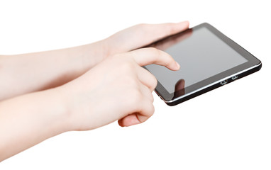 girl holding and clicking tablet-pc screen isolated