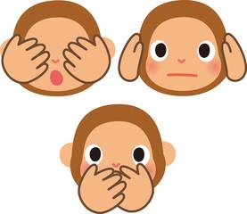 猿,見ざる聞かざる言わざる