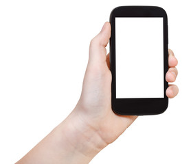 girl holding smart phone with cut out screen