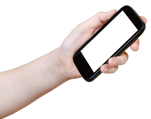 girl holds mobile phone with cut out screen